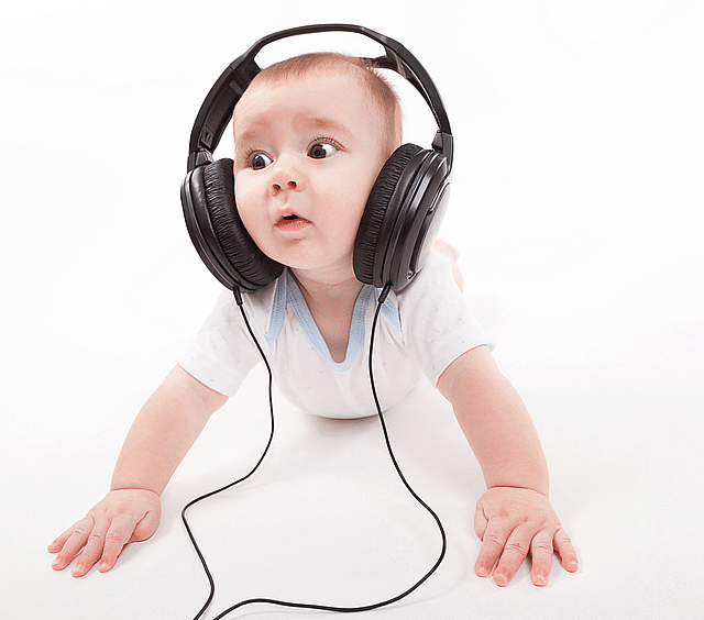 Baby and headphone