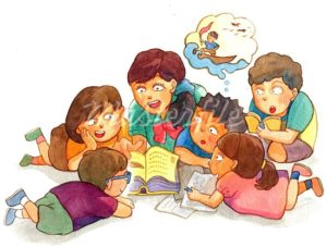 A group of children gathering around reading stories